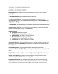 COMM 222 Study Guide - Final Guide: Dispositional Attribution, Organizational Behavior, Job Satisfaction