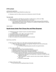 PLSC 389E Lecture Notes - Lecture 5: Park Chung-Hee, Syngman Rhee, Hitler Youth