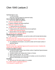 CHM-1045 Lecture Notes - Lecture 2: Significant Figures