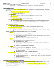 SOCPSY 1Z03 Lecture Notes - Lecture 7: Group Cohesiveness, Ideal Number, Conflict Theories