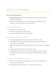 46-116 Chapter Notes - Chapter 13: Social Loafing, Mark Leary, Roy Baumeister