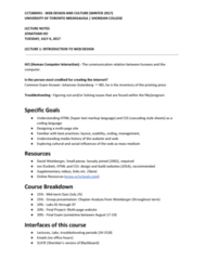 CCT260H5 Lecture Notes - Lecture 1: Presentation Of A Group, Search Engine Optimization, Understanding Media