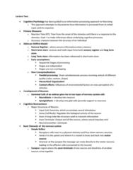 PSYC 3265 Lecture Notes - Lecture 2: Sympathetic Nervous System, Occipital Lobe, Parietal Lobe