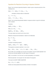 CHEM 110 Lecture Notes - Lecture 15: Ionic Compound, Chemical Equation, Spectator Ion
