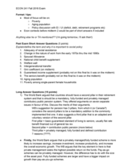 ECON 241 Final: Short & long question answer prep (based on past questions)