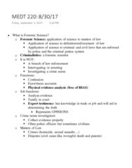 MEDT220 Lecture Notes - Lecture 1: Homicide, Wrongful Death Claim, Forensic Science