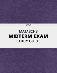 MATA32H3- Midterm Exam Guide - Comprehensive Notes for the exam ( 41 pages long!)