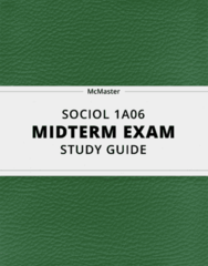 SOCIOL 1A06- Midterm Exam Guide - Comprehensive Notes for the exam ( 23 pages long!)