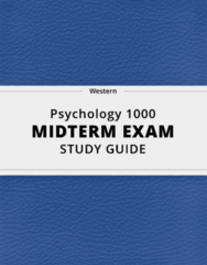 Psychology 1000- Midterm Exam Guide - Comprehensive Notes for the exam ( 61 pages long!)