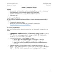 ECO100Y1 Study Guide - Quiz Guide: Economic Equilibrium, Demand Curve
