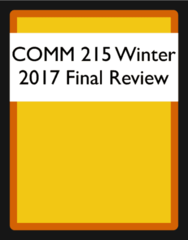 COMM 215 Final: COMM 215 Winter 2017 Final Study Guide
