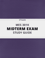 MES 301K- Midterm Exam Guide - Comprehensive Notes for the exam ( 19 pages long!)