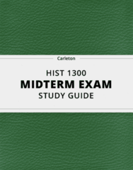 HIST 1300- Midterm Exam Guide - Comprehensive Notes for the exam ( 25 pages long!)