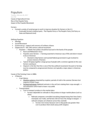 HIST206 Lecture Notes - Lecture 6: Homestead Acts, Social Equality, Free Silver