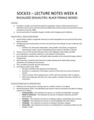 SOC 633 Lecture Notes - Lecture 4: Martha Nussbaum, Audre Lorde, Sexual Politics