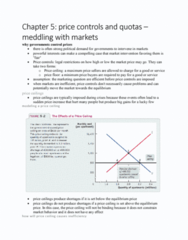 ECON 101 Chapter 5: Chapter 5- price controls and quotas – meddling with markets