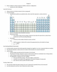 CHE 201 Chapter Notes - Chapter 8: Lattice Energy, Valence Electron, Lone Pair