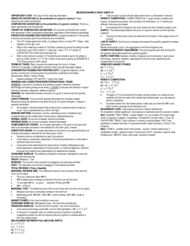 microeconomics cheat sheet Similar documents to econ1010 final exam cheat sheet   complete notes for microeconomics econ111 at macquarie university covering all chapters.