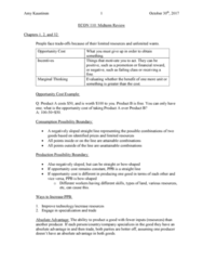 ECON 110 Study Guide - Midterm Guide: Kaustinen, Absolute Advantage, Opportunity Cost