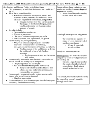 The social construction of sexuality seidman summary
