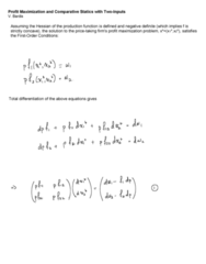 ECO102 Lecture Notes - Lecture 10: Profit Maximization, Production Function, Statics