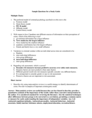 PSYC 3402 Study Guide - Midterm Guide: Anti-Social Behaviour, Criminal Psychology, Control Theory