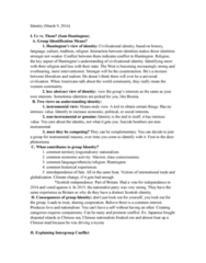 POL S 203 Lecture Notes - Lecture 7: Sam Huntington, Realistic Conflict Theory, Henri Tajfel