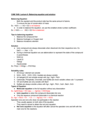 CHM-1045 Lecture Notes - Lecture 6: Chemical Equation, Spectator Ion, Ionic Compound