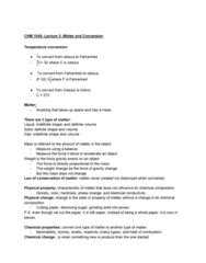 CHM-1045 Lecture Notes - Lecture 3: Conversion Of Units Of Temperature, Chemical Change, Physical Property