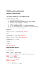 CHM-1045 Lecture Notes - Lecture 7: Redox, Oxidation State, Nonmetal