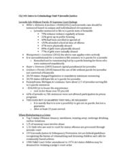 CLJ 101 Lecture Notes - Lecture 9: Mandatory Sentencing, Juvenile Court, Truancy