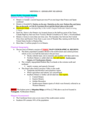 Geography 2011A/B Study Guide - Midterm Guide: Humid Continental Climate, Hudson Bay Lowlands, Humid Subtropical Climate