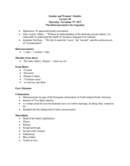 WMST 1000Y Lecture Notes - Lecture 8: Heterosexuality, Invisibility, Louise Adams