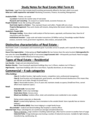 REAL 1820 Midterm: Real 1820 Mid-Term #1 Notes