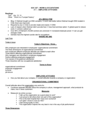 SOC227H5 Lecture Notes - Lecture 11: Organizational Commitment, Employee Engagement, Job Satisfaction
