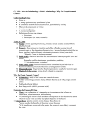 CLJ 101 Lecture Notes - Lecture 1: White-Collar Crime, Pickpocketing, Larceny