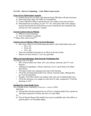 CLJ 101 Lecture Notes - Lecture 3: Chicago Police Department, Police Misconduct, Police Corruption