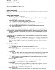 HROB 2090 Lecture Notes - Lecture 3: Hindsight Bias, Loss Aversion, Cognitive Bias