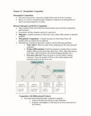 AUECO101 Lecture Notes - Lecture 16: Monopolistic Competition, Imperfect Competition, Perfect Competition