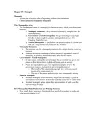 AUECO101 Lecture Notes - Lecture 15: Monopoly Profit, Natural Monopoly, Marginal Revenue