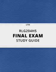 RLG204H5- Final Exam Guide - Comprehensive Notes for the exam ( 135 pages long!)