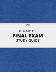 BIOA01H3- Final Exam Guide - Comprehensive Notes for the exam ( 78 pages long!)