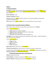 ECO100Y1 Chapter Notes - Chapter 1: Productive Efficiency, Opportunity Cost