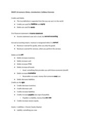 MGMT 1A Lecture Notes - Lecture 1: Accrual, Deferral, Balance Sheet