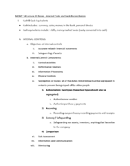 MGMT 1A Lecture Notes - Lecture 10: Money Market Fund, Bank Reconciliation, Financial Statement