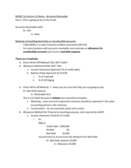 MGMT 1A Lecture Notes - Lecture 12: Accounts Receivable, General Ledger, Subledger