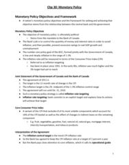 ECON 102 Chapter 30: Chp 30 - Monetary Policy
