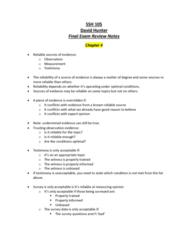 SSH 105 Final: SSH 105 Chapter 4 Finals Review Notes