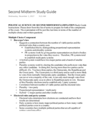 POL S 101 Midterm: Second Midterm Study Guide - 2