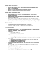 PSYC 3265 Chapter Notes - Chapter 7: Episodic Memory, Mental Model, Self-Reference